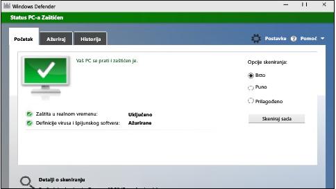 zaštitite računar s operativnim sistemom windows 10 koristeći windows defender