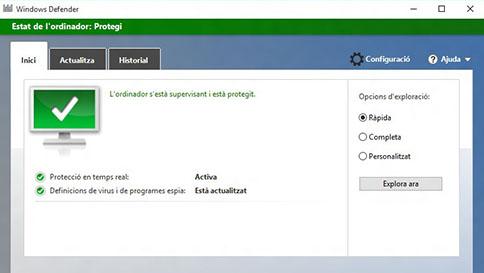 protegeix l'ordinador amb el windows 10 amb el windows defender