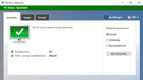 schützen des windows 10-pcs mit windows defender