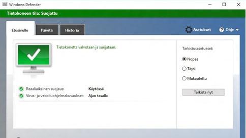 suojaa windows 10 -tietokoneesi windows defenderillä
