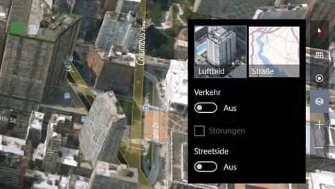 wechseln zwischen 3d-ansicht (luftbild) und stadtplanansicht