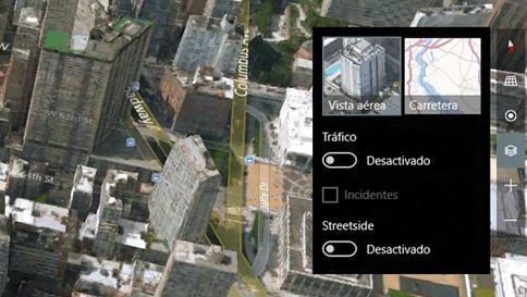 cambiar vista aérea a mapa de carreteras en aplicación de mapas en windows 10