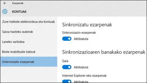 nola sinkroniza ditzaket ezarpenak windows 10 sisteman?