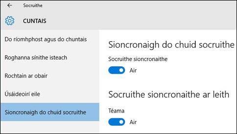 conas is féidir liom mo shocruithe a shioncronú i windows 10?