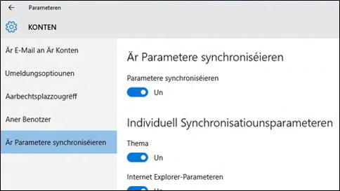 wéi synchroniséieren ech meng parameteren op windows 10?