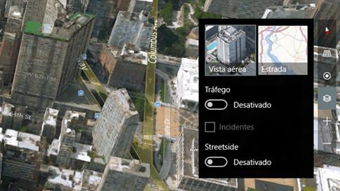 alternar entre as vistas 3d (aérea) e de estrada