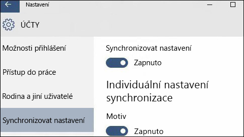 jak si synchronizovat nastavení ve windows 10?