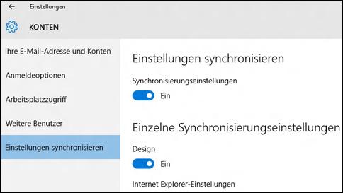 synchronisieren meiner windows 10 einstellungen