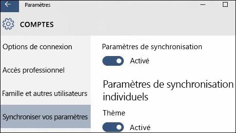 comment synchroniser mes paramètres dans windows10?
