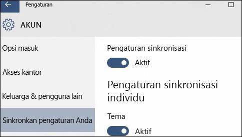bagaimana cara menyinkronkan pengaturan saya di windows 10?