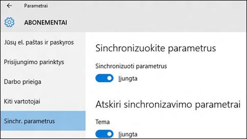 """kaip sinchronizuoti savo parametrus sistemoje """"windows 10""""?"""