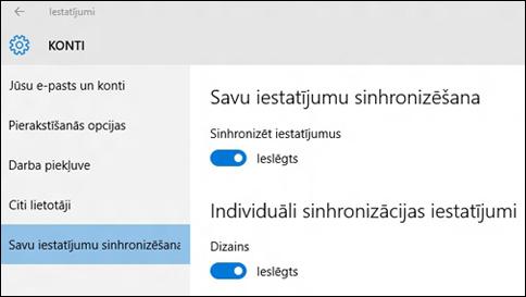 kā sinhronizēt manus iestatījumus sistēmā windows10?