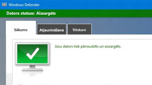 windows10 datora aizsargāšana ar programmu windows defender