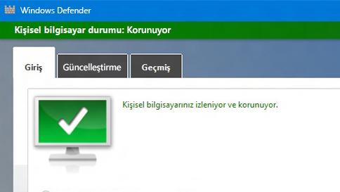 windows 10 bilgisayarınızı windows defender ile koruma
