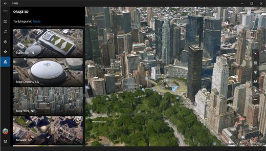 comutarea între vizualizările 3d (aeriene) și rutieră