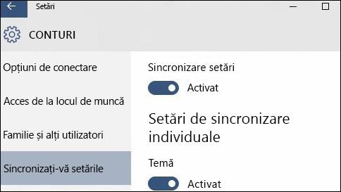 despre sincronizarea setărilor în windows 10