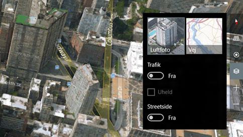 skift mellem 3d-visning (luftfoto) og visning af veje