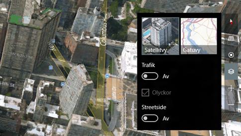 växla mellan 3d- (satellit) och gatuvy