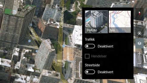 veksle mellom 3d- (flyfoto) og gatevisning