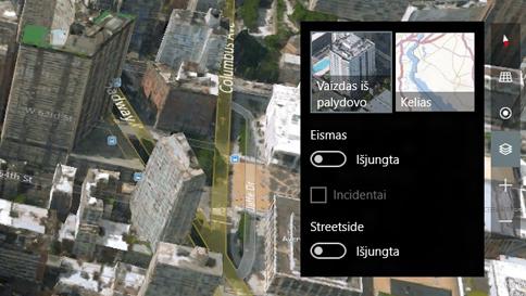 3d (vaizdo iš palydovo) ir kelio rodinių perjungimas