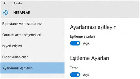 windows 10'da eşitleme ayarları hakkında