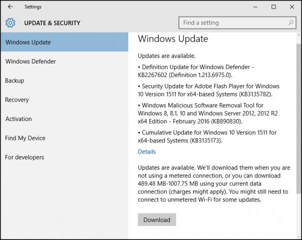odrocz uaktualnienia w systemie windows 10