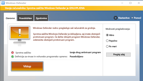 pregledovanje elementa s programom windows defender