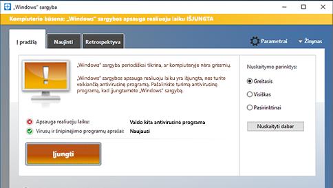 """elemento nuskaitymas naudojant """"windows"""" sargybą"""