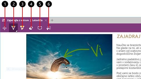 ustvarjanje spletne opombe v brskalniku microsoft edge