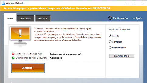analizar un elemento con windows defender