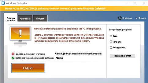 pregledavanje stavke pomoću programa windows defender