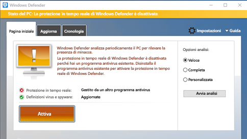 analizzare un elemento con windows defender