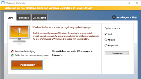 een item scannen met windows defender