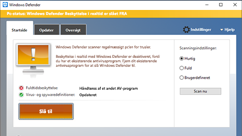 scan et element med windows defender