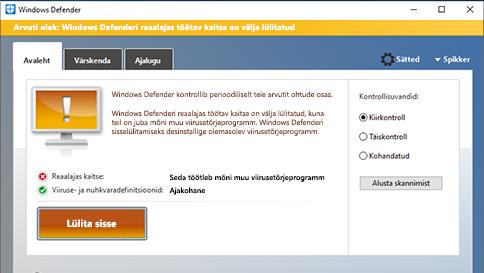 üksuse kontrollimine windows defenderi abil