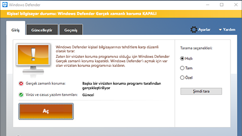 windows defender ile bir öğeyi tarama