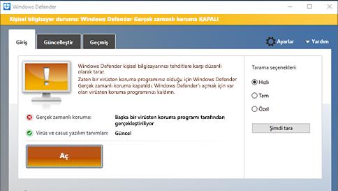 windows defender ile bir öğeyi tarama