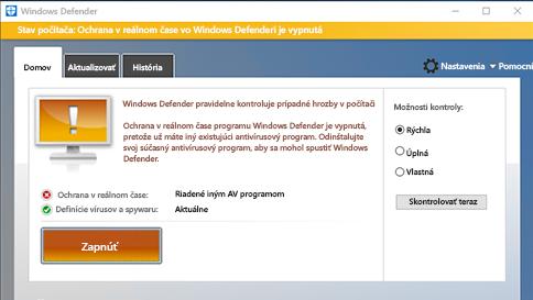 kontrola položky pomocou windows defendera