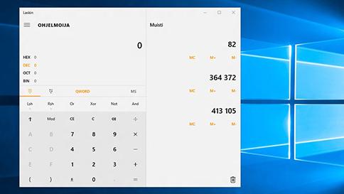 windows 10:n laskimen uudet ominaisuudet