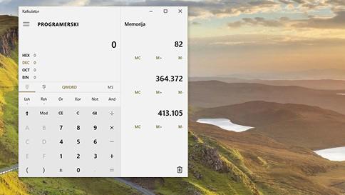 novosti u kalkulatoru u sustavu windows10