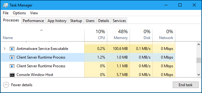 csrss.exe 用戶端伺服器執行階段處理程序