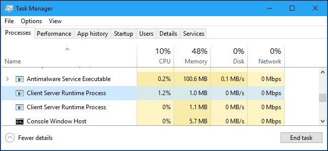 csrss.exe Proceso en tiempo de ejecución del cliente-servidor