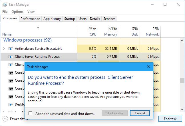 csrss.exe Processo de Tempo de Execução de Servidor Cliente (32 bits)