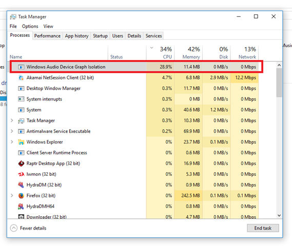 audiodg.exe Isolamento de Gráfico de Dispositivo de Áudio do Windows (32 bits)