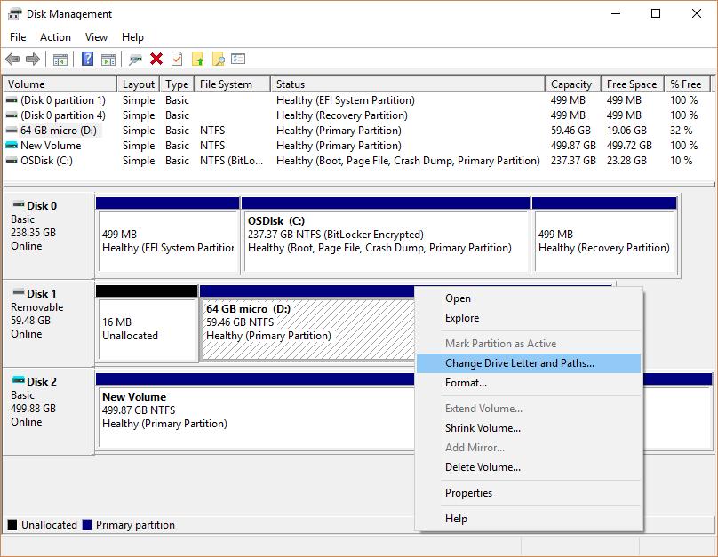 gestão de discos do windows 10