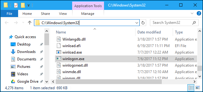 winlogon.exe Application d'ouverture de session Windows
