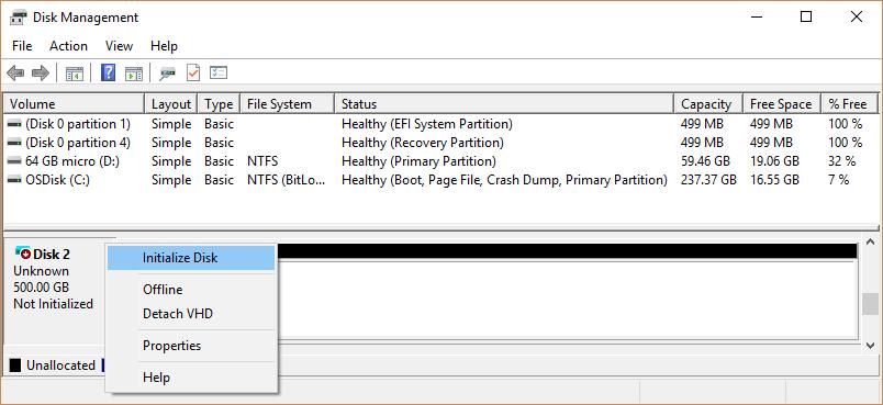 ניהול דיסקים של windows 10