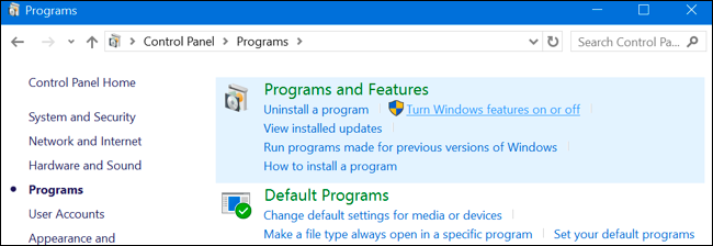OptionalFeatures.exe Windows Features