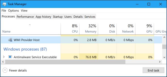 WmiApSrv.exe Adaptador de rendimiento inverso de WMI